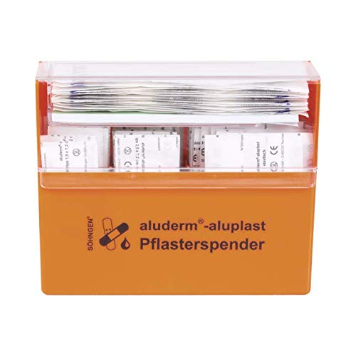 Söhngen Pflasterspender gefüllt (mit Wandhalterung, Inhalt: Wundverbandpflaster, Fingerkuppenverbände, Strips) orange, 1009910