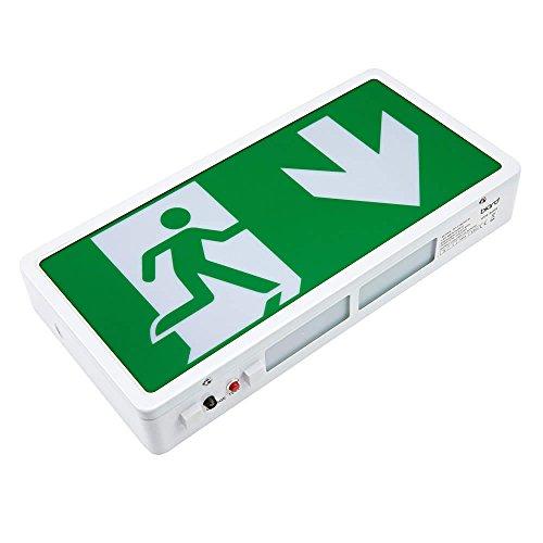 Éclairage de secours LED, signe de sortie et éclairage de cloisonnement maintenu, non maintenu., Green Exit Sign: Down 3.0 watts