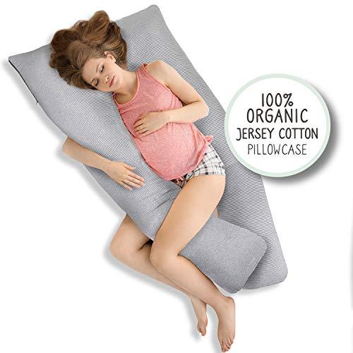 Nana & Dee Bio-Baumwolle Ganzkörper Schwangerschaftskissen / Schwangerschaftskissen für Rückenschmerzen, Bauchstütze und Babybauch Zeit 100% Bio-Jersey Baumwolle Kissenbezug 140x80 cm