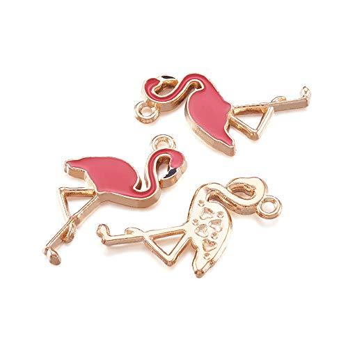 10 colgantes de metal chapado en oro con forma de flamenco, 26 x 14 mm, para pulseras y collares y llaveros