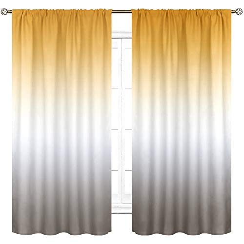 Cinbloo Ombre Yellow and Gray Curtains Rod Pocket Gradient Color Modern Simple Art Printed Living Room Bedroom Window Drapes Treatment Fabric 2 Panels 42 (W) x 63(L) Inch