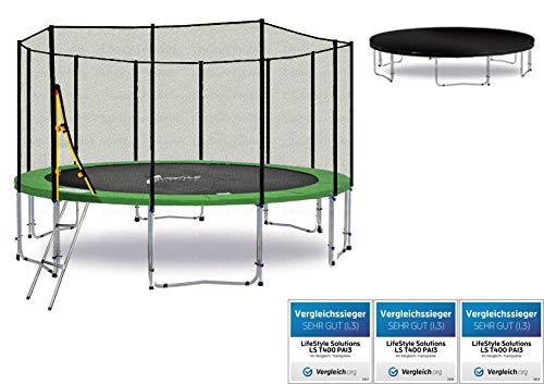 LS-T430-PA14 (GWD) Deluxe LifeStyle ProAktiv Trampolino da giardino 430cm - incl. Rete di sicurezza 140g/m² - New