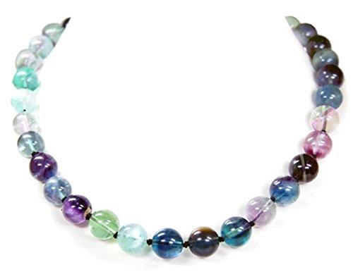 Halskette aus verschiedenfarbigem Fluorit in Kugelform L-47 cm