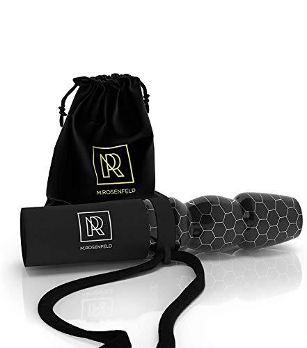 M. ROSENFELD Premium Personal Boquilla para Cachimba – Boquillas para Shisha Exclusiva Echa a Mano con Resina de Panal de Abeja Rara – Incluye Banda para el Cuello de Cuero y Bolsa para Transportar.