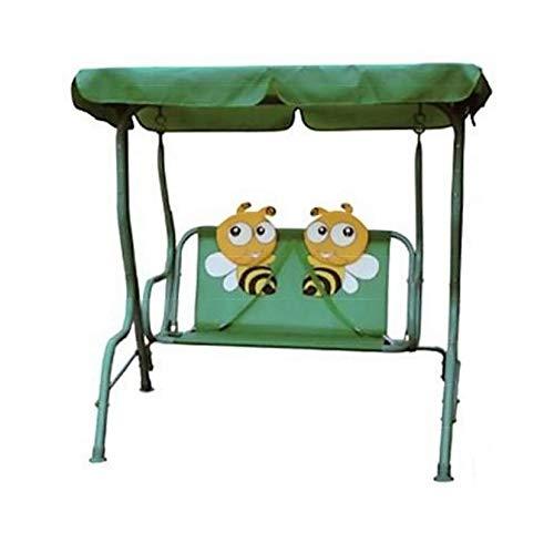 Iocompronline Dondolo Ape per Bambini Altalena da Giardino 2 Posti in Acciaio Colore Verde Stabile Resistente Comodo 110 x 75 x 115 cm