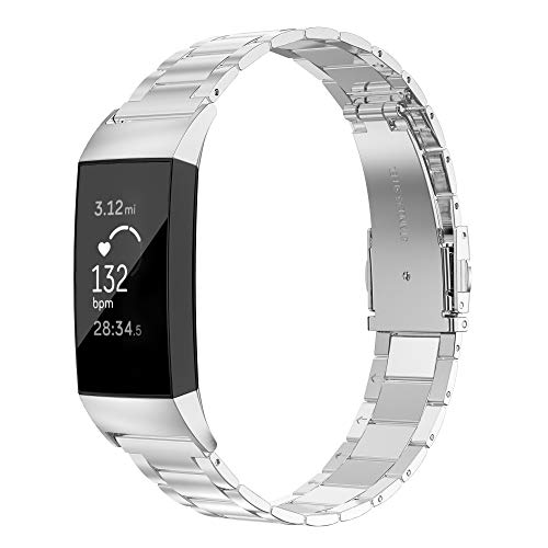 Wearlizer Stainless Steel Band Compatible for Fitbit Charge 3 Bands/Fitbit Charge 4 Bands Women Men,Ultra-Thin Lightweight Replacement Band Strap Wristbands for Charge 3 Silver