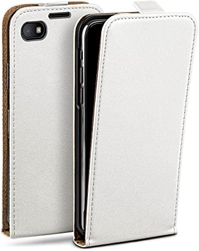 moex Flip Hülle für BlackBerry Z30 - Hülle klappbar, 360 Grad Klapphülle aus Vegan Leder, Handytasche mit vertikaler Klappe, magnetisch - Weiß