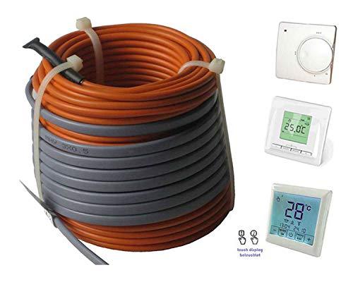 Fußbodenheizung Elektro lose Heizleitung Temperaturregler TWIN Technik 1-20 qm, inkl. Regler - nur 3-4 mm Aufbauhöhe, Regler:Nr 520 (Digital-Regler), Länge Heizleitung:39 m