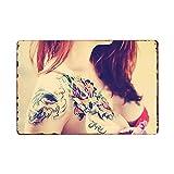muzi928 Hojalata de alcantarilla Tattoo Girl Letrero de Metal Placas de época Tienda de Tatuajes Car...