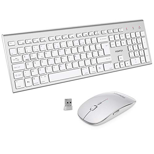 FENIFOX AZERTY - Teclado ratón inalámbrico USB de 2,4 GHz de tamaño real, ergonómico de 2400 DPI para macOS Windows, PC, Smart TV, ordenador portátil, color blanco plateado