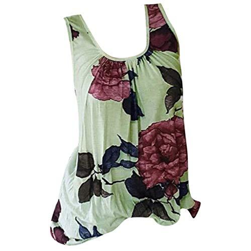 Bringbring Damen Bluse Blumendruck Ärmellose Damenblusen Tunika Blusenshirt Hemd Elegant Oberteile Tops T-Shirt