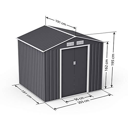 BillyOh Ranger Lockable Apex Metal Garden Shed 7' x 6' with Foundation Kit Dark Grey
