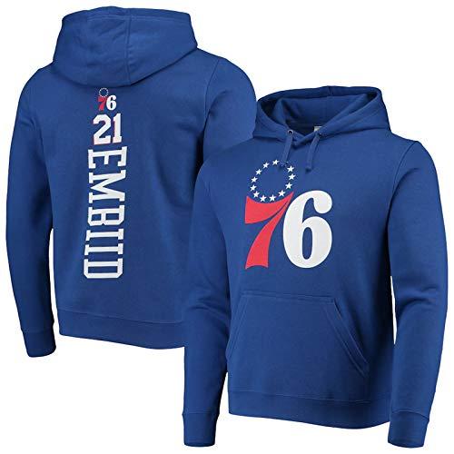 AWEY 76ers Embiid 21# Basketball Hoodie Sweatshirt Herren Pullover 2021 All-Star Bequemes Microfleece Weich Casual Langarm Kapuzenjacke Jersey S-3XL Blau 1-M