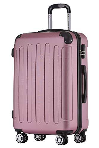 BEIBYE Hartschalen-Koffer Trolley Rollkoffer Reisekoffer Handgepäck 4 Rollen (M-L-XL-Set) (Rosa, L)