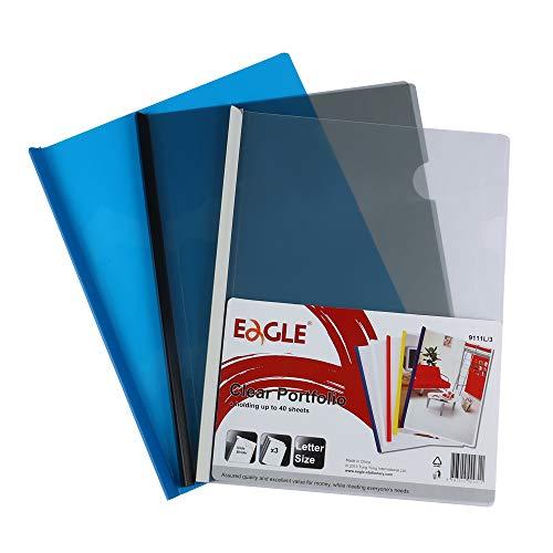 Eagle Sliding Bar File Folders, Report Covers, Plastic, Letter Size, Assorted Colors, 3 Counts