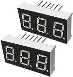 AERZETIX - Set di 2 - Display digitale - modulo - pannelli luminosi - schermo - 16x30.1mm - LED 7 segmenti - verde - THT - numero cifre 3 - C46265