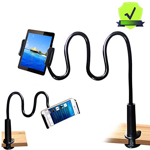 MAGIPEA Tablet Stand Holder Mount Holder Clip with Grip Flexible Long Arm Gooseneck Compatible with ipad iPhone/Nintendo Switch/Samsung Galaxy Tabs/Amazon Kindle Fire HD  Black