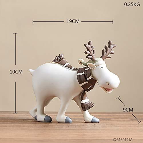 YiXing Easter White Reindeer Standing Xmas White Elk Deer Dolls New Year Party Decor Elk statue desktop Ornament Gift Home Decor (Color : Height 15.5cm)