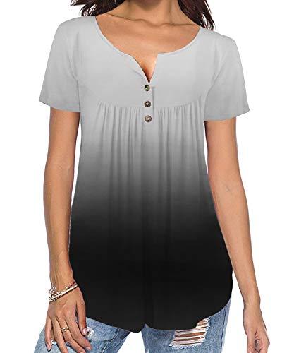 TUDOU Damen Bluse Lässige Kurzarm Button Up Gradient Gefaltete Tunika Tops Henley Tops Lose Gebogene Hem Shirts (L, Hellgrau)