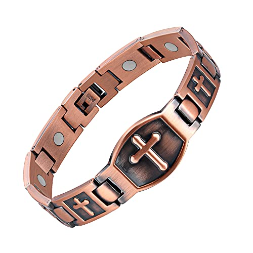 Jecanori Arthritis Bracelet for Men~100% Copper Bracelet~Magnetic Therapy for Arthritis Pain Relief & Carpal Tunnel-Ultra Strength 3500 Gauss Magnets-Jewelry Gifts with Adjust Tool(Classic Cross)