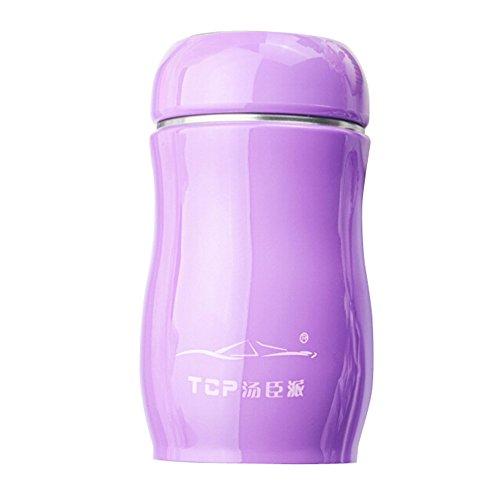 Ratoop - 1 Botella térmica de Acero Inoxidable de 200 ML, Color Caramelo, para Viajes, Viajes, Deportes al aspiradora, Tazas de Botella de Agua, Púrpura, Free