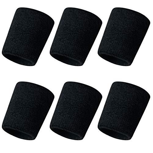 WINSTON-UK 6 pulseras deportivas para hacer ejercicio, tenis, correr, deportes atléticos, ejercicio de gimnasio, se adaptan a ambas manos, absorbe el sudor, ajustable, sin olor (negro)