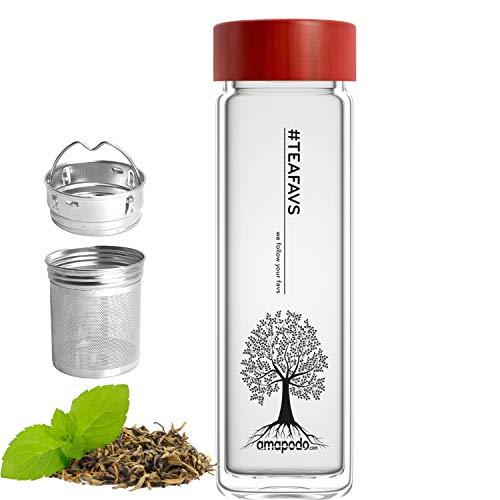 amapodo Botella de cristal de doble pared para té con colador, 400 ml, termo con colador y tapa de bambú, color rojo