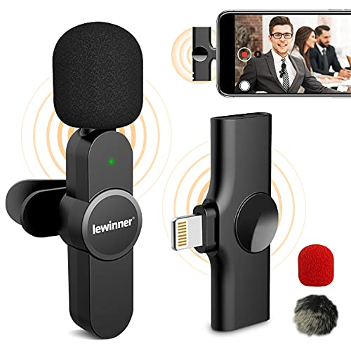 Lewinner Wireless Lavalier Microphone for iPhone iPad, Plug & Play Lapel Clip-on Mini Mic for YouTube Facebook Live Stream TikTok Vlog Zoom Video Recording - Noise Reduction No APP & Bluetooth Needed