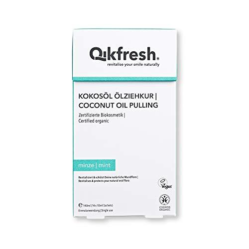 Qikfresh - Kokosöl Ölziehkur, 140ml (14 Sachets x 10 ml) | Ölziehen mit Bio-Kokosöl und natürlichen ätherischen Ölen | Kokos-Minz-Geschmack | Zertifizierte Biokosmetik & Vegan