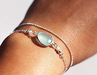 Bracelet double tour - multitours - bracelet argent massif 925 - bijoux pierre fine - bracelet chaîne boule argent - pierre de calcedoine menthe, mint - boho