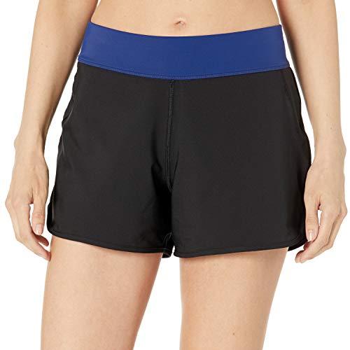 Amazon Essentials pantalón de baño Tejido para Mujer Fashion-Swim-Trunks, Negro, US L (EU L - XL)