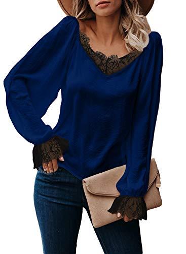 OLONG Damen Satin-Blusen mit V-Ausschnitt, Lange Laternenärmeln, Tops, sexy locker Sommer Casual S-XXL Gr. XXL, Blau 1