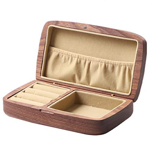 QVIVI Caja De Joyería De Madera Maciza, Pequeño Cajas para Joyas De Viaje Portátil, para Anillos Pulseras Pendientes Collares Organizador De Almacenamiento B