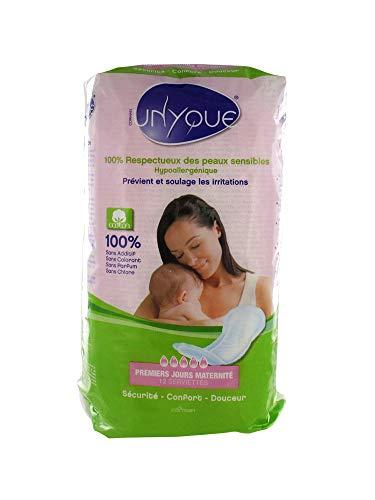 Unyque Lot de 12 serviettes de maternité 100 % pur coton hypoallergéniques – Prévient les infections de la suture post-partum – Douceur extrême Super rembourrées jetables et absorbantes