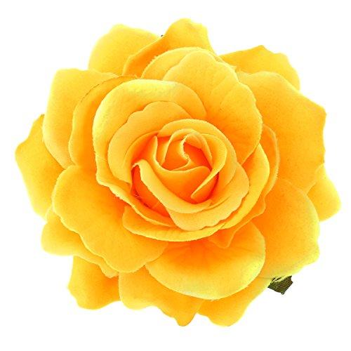 2 in 1 fiore artificiale grande rosa fiore tornante clip di capelli spilla fiore per le donne partito (giallo)