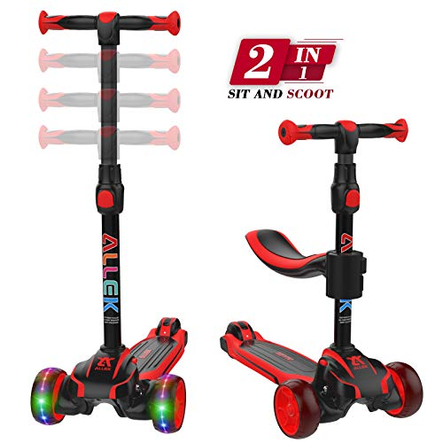 Allek 2in1 Kids Kick Scooter D01 Anti Skid 3 Wheel Light Up Push Scooter with Height Adjustable Removable Seat and Shock Absorbing Thick Wide Kickboard for Boys Girls 210 Dual Color Red/Black