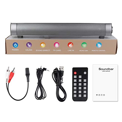 VKTY Bluetooth-Lautsprecherleiste, Fernbedienung, kabelloser Soundbar-Lautsprecher mit 2 x 5 W Subwoofer, AUX, TF, Eingang, MP3-Ausgang, Smart-Bluetooth-TV-Soundbar mit Mikrofon