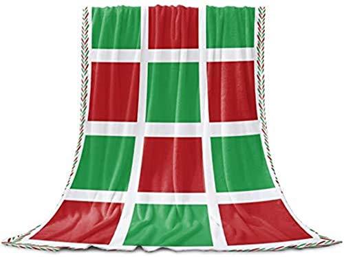 Manta de franela de forro polar de color rojo y verde navideño, acogedora y cómoda, cálida y ligera para mujer, manta para siesta de microfibra para sofá, cama, 127 x 203 cm