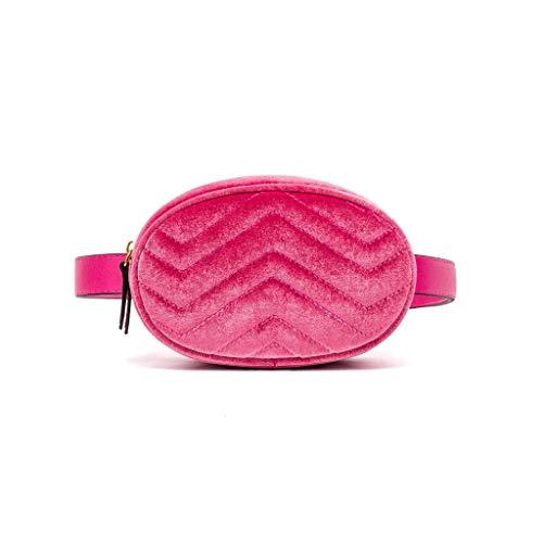 PING Cintura Fanny Pack Mujeres Cuero Terciopelo Cinturón Cremallera Cintura Bolsa Viaje Cartera Playa, HP.,