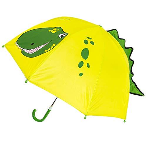 Paraguas para niños y niñas, con diseño de dibujos y orejas de animal, mango largo, seguro, ligero y portátil