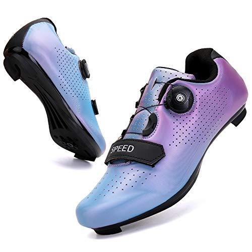 KUXUAN Zapatillas de Ciclismo Cordón de Zapatos Giratorio con Zapatilla Peloton de Cala Compatible con Zapatillas de Bicicleta con Pedal SPD y Delta Lock,Blue-12UK=(280mm)=46EU