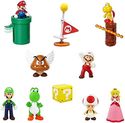 Super Mario Toys – Set of 12 Mario Figures with Luigi and Yoshi,Princess Peach – Mario Action Figures with Movable Heads and Arms – Mario Playset for Playing or Decoration – 3-inch Super Mario Figures