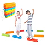 Special Supplies Balance Beams Stepping Stones for Kids, 8 Pc. Set, Non-Slip Textured Surface and Slip Resistant Floor Rubber Edges, Promote Agility, Strength, Active Play (Misc.)