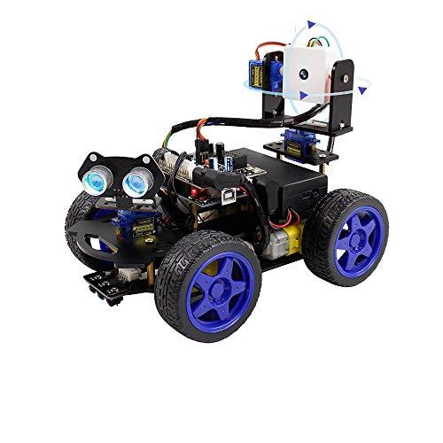 KKmoon Smart Robot Auto Kit Wifi-Kamera Fernbedienung STEM Education Spielzeugauto-Roboter-Kit Kompatibel mit Arduino Learner Support Scratch DIY-Codierung für Kinder Jugendliche Erwachsene