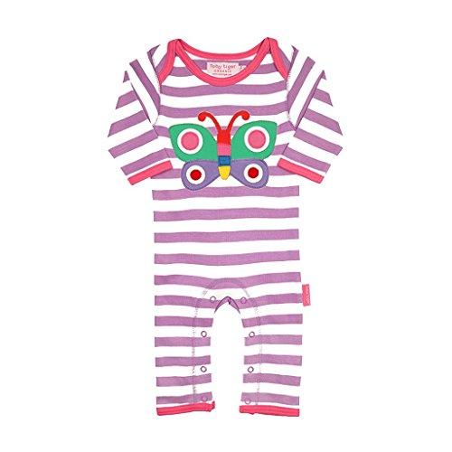 Toby Tiger Butterfly Applique Sleepsuit - Combinaison - Bébé fille, Violet (Purple/White/Pink/Green), 6 mois