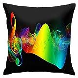 Funda de almohada abstracta con diseño de arcoíris y notas musicales, funda de almohada clásica suave y cómoda para habitación, sofá, silla, 50,8 x 50,8 cm