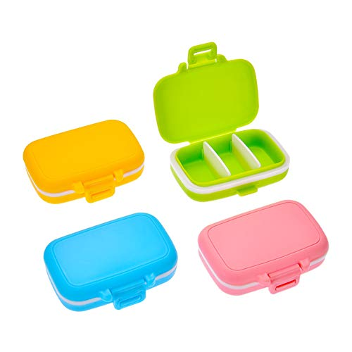 Pastilleros de plástico con 3 compartimentos extraíbles, resistente al agua, organizador de 4 piezas