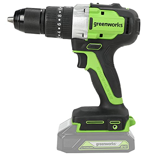 Greenworks Tools 3704107 Greenworks Taladro/Atornillador GD24DD65 (Li-Ion 24V 60 NM Torque 1800 RPM 1/2 pulgadas diámetro de Eje Potente Motor sin escobillas sin batería y Cargador), 24 V