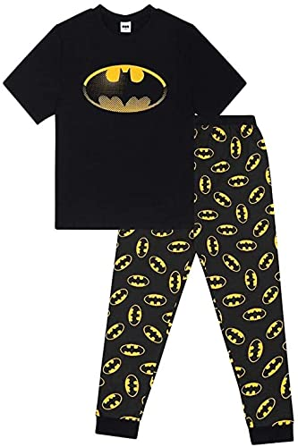 F4S® DC Comics Herren Pyjama-Set, Batman/Star Wars/Superman, lang, S-XL Gr. S, Schwarz Batman