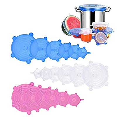 Silicone Stretch Lids, 18 Pack Reusable Silicone Lids, Silicone Bowl Covers, 6 Sizes Silicone Covers Apply to Food Container, for Freezer & Microwave